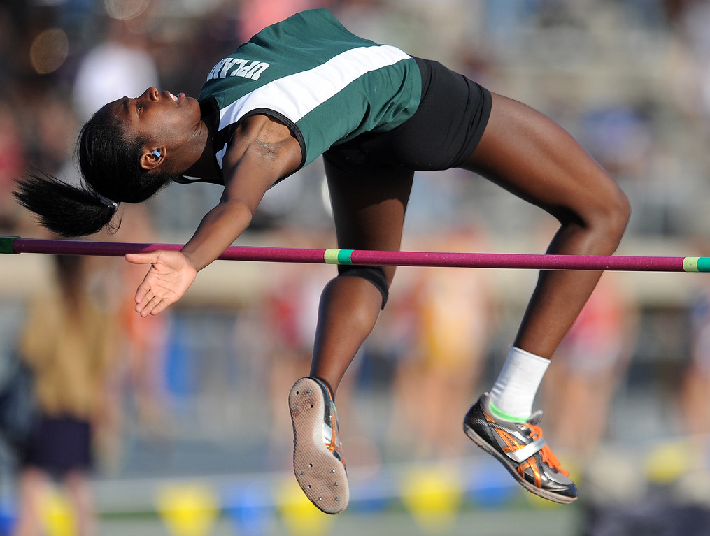 . Upland\'s Skyler Daniel in the high jump during the CIF-SS Masters Meet at Cerritos College on Friday, May 24, 2013 in Norwalk, Calif.  (Keith Birmingham Pasadena Star-News)