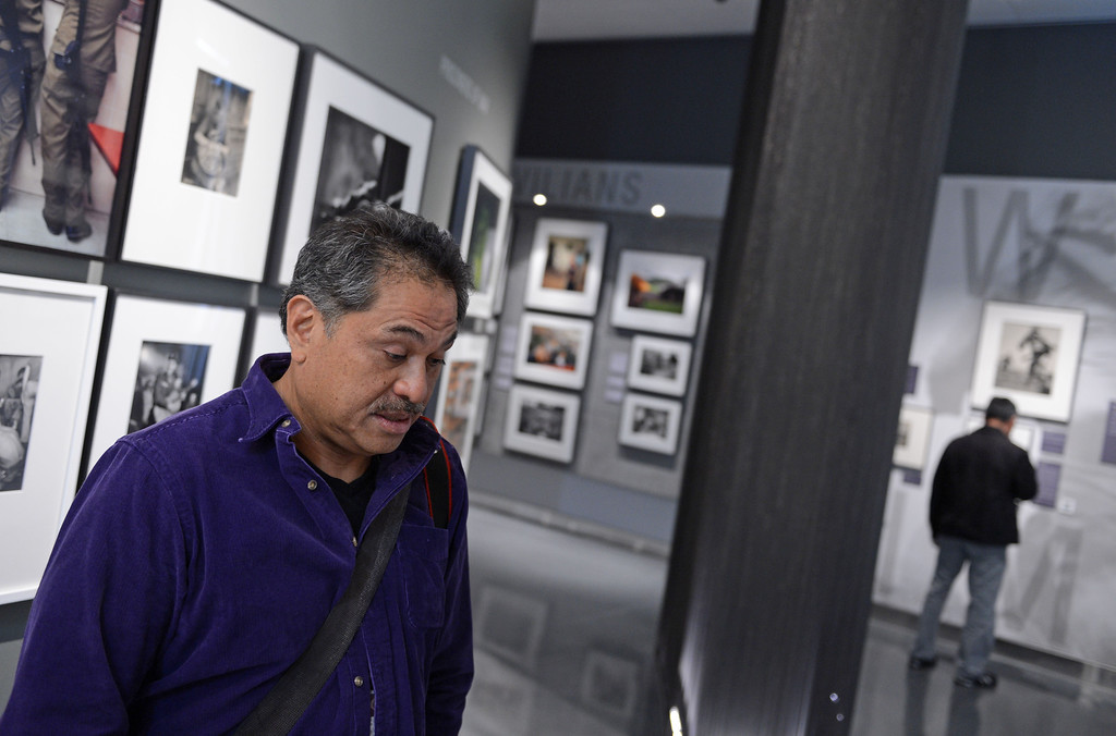 . Photographer Luis Sinco relates a few of his own experiences in Iraq as a photojournalist for the Los Angeles Times.  WAR/Photography - Images of Armed Conflict and its Aftermath. Photography exhibit at the Annenberg Space for Photography. Photo by Brad Graverson 3-20-13