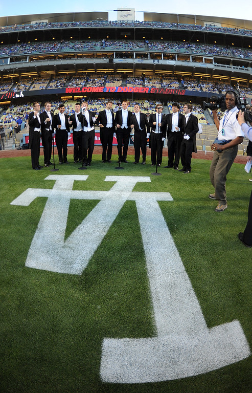 . The Yale Whiffenpoofs sings the National Anthem prior to a baseball game between the San Diego Padres and the Los Angeles Dodgers on Wednesday, April 17, 2013 in Los Angeles.   (Keith Birmingham/Pasadena Star-News)