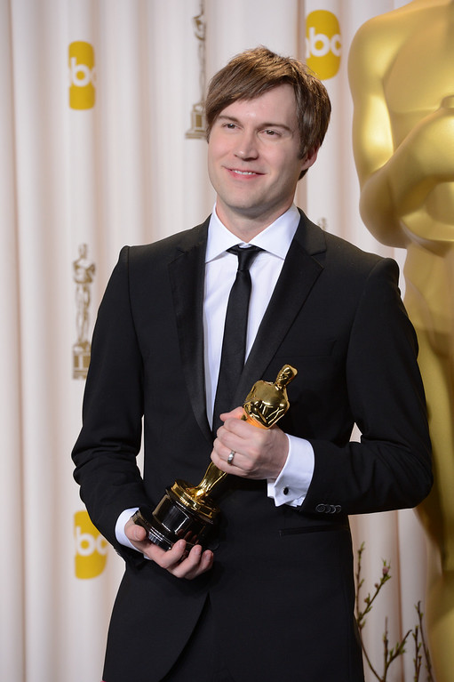 """. Shawn Christensen accepts the award for best short film - live action for \""""Curfew\"""" backstage at the 85th Academy Awards at the Dolby Theatre in Los Angeles, California on Sunday Feb. 24, 2013 ( David Crane, staff photographer)"""