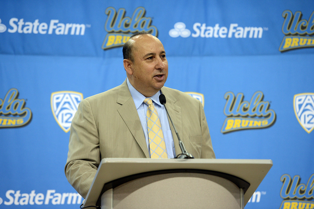 . UCLA athletic director Dan Guerrero introduces new men\'s basketball coach Steve Alford  during a press conference at Pauley Pavillion on the UCLA campus Tuesday, April 2, 2013. (Hans Gutknecht/Staff Photographer)