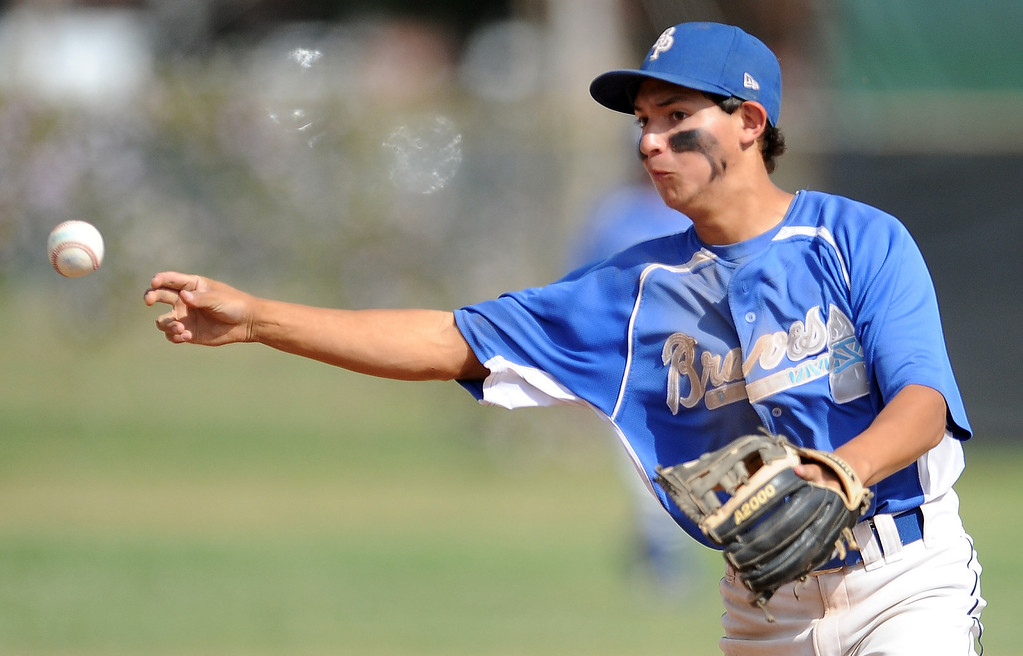 Description of . Baldwin Park second baseman Justin Tellez throws out Northview's Gabe Rojo (not pictured0 in the second inning of a prep baseball game at Northview High School on Tuesday, April 23, 2012 in Covina, Calif. Northview won 8-2.    (Keith Birmingham/Pasadena Star-News)