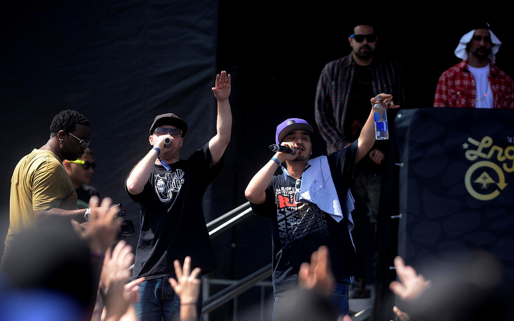 Description of . Berner and Equipto perform during the Paid Dues Independent Hip Hop Festival at San Manuel Amphitheater in Devore March 30, 2013.  GABRIEL LUIS ACOSTA/STAFF PHOTOGRAPHER.