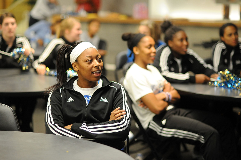 . Atonye Nyingifa looks on as her team receives the 3rd seed in the NCAA tournament during the NCAA Women\'s Basketball Selection Show Monday March 18, 2013 in Westwood, CA.(Andy Holzman/Los Angeles Daily News)