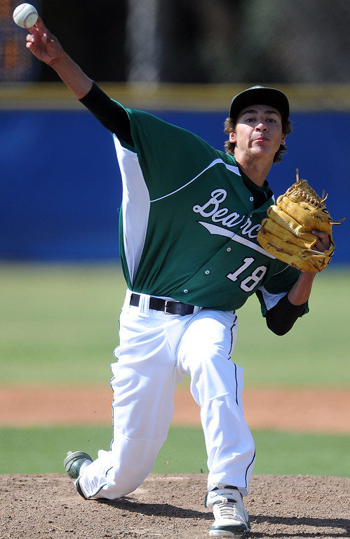 . Bonita starting pitcher Parker Merritt throws to the plate in the first inning of a prep baseball game against La Habra at La Habra High School on Tuesday, April 2, 2013 in La Habra, Calif. Bonita won 8-2.  (Keith Birmingham Pasadena Star-News)