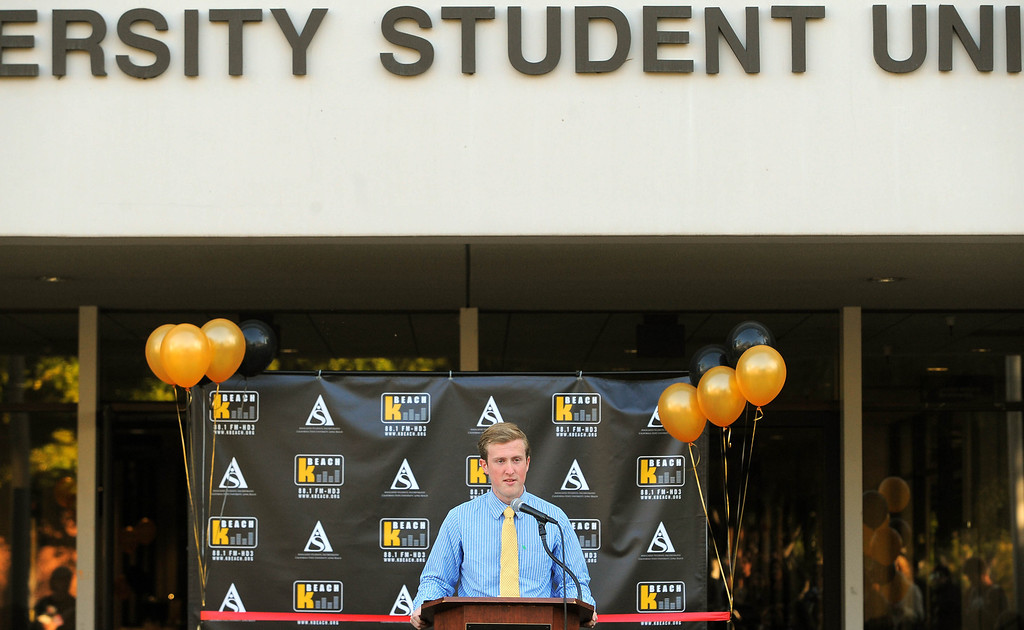 . LONG BEACH - 02/13/13 - (Photo: Scott Varley, Los Angeles Newspaper Group)  CSULB launched their new student-run radio station Wednesday afternoon. KBeach will broadcast on 88.1 FM HD3. KBeach general manager Evan Dixon speaks the dedication ceremony.