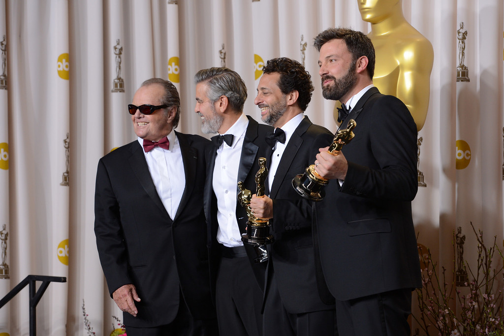 ". Jack Nicholson, George Clooney, Grant Heslov, and Ben Affleck, accepts the award for best picture for ""Argo\""  backstage at the 85th Academy Awards at the Dolby Theatre in Los Angeles, California on Sunday Feb. 24, 2013 ( David Crane, staff photographer)"