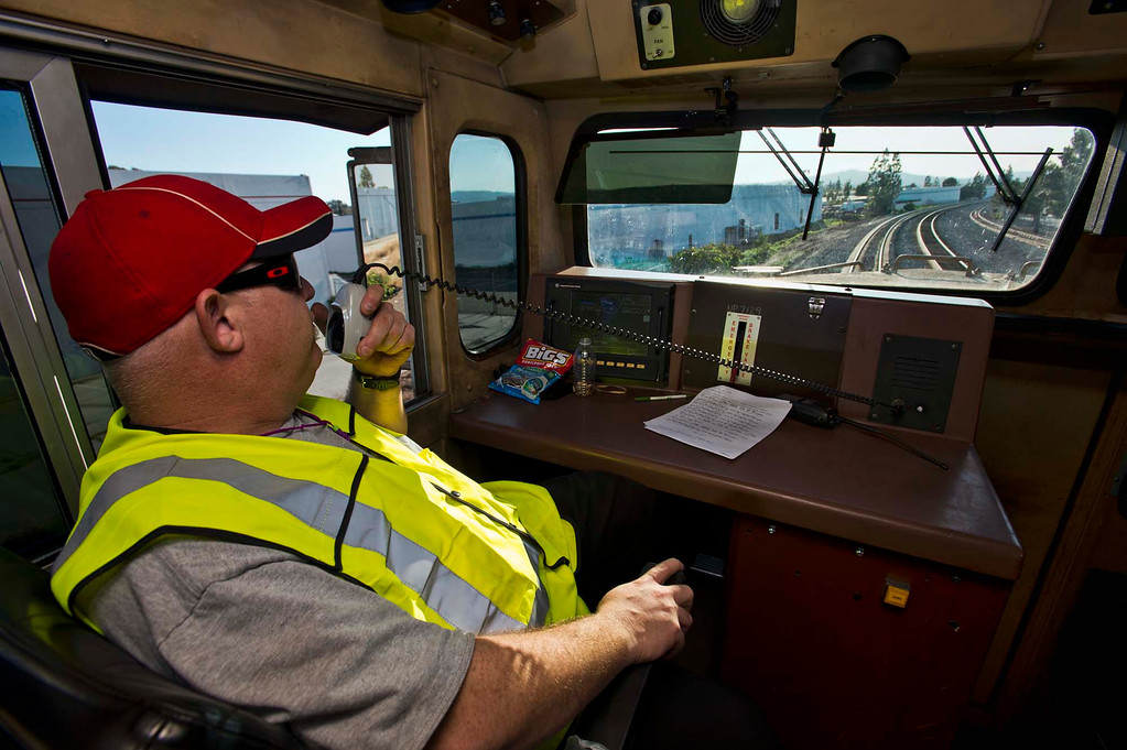 . Engineer Kevin Anderson operates on a Union Pacific freight train during a railroad safety education event in City of Industry on Friday, Feb. 22, 2013. (SGVN/Staff photo by Watchara Phomicinda)