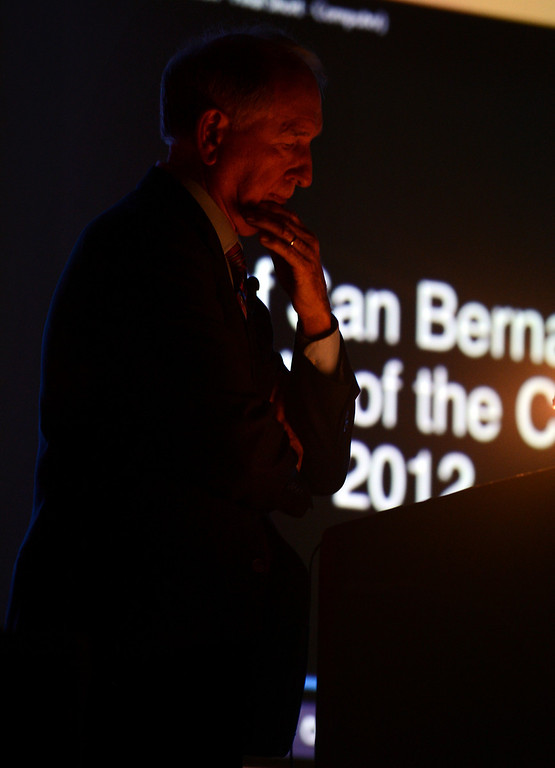 . Mayor Pat Morris pauses before continuing with his final State of The City address at the Sturges Center for the Fine Arts in San Bernardino, CA, Tuesday, October 8, 2013. (Jennifer Cappuccio Maher/Inland Valley Daily Bulletin)