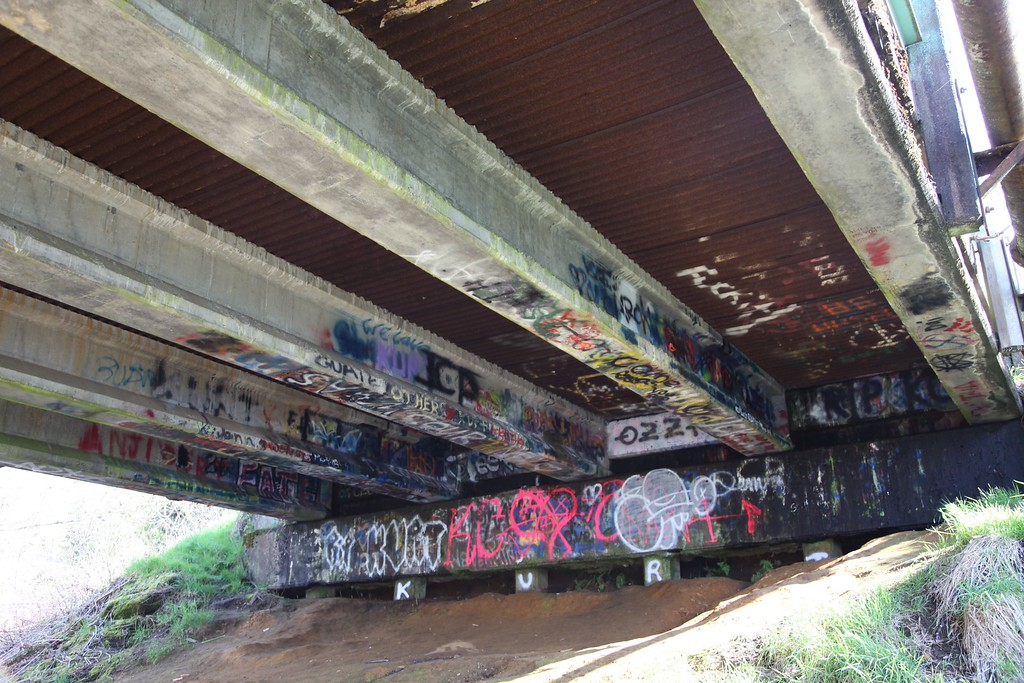 . Graffiti seen under a bridge in Kurt Cobain Park in Aberdeen, Washington on April 1, 2014. The park and bridge where Cobain used to hang out and write songs has become a symbol for fans as it was a gathering place after the news of his death spread. Nirvana fans prepare to mark the 20th anniversary of the iconic frontmans suicide on April 5.   (Sebastian VUAGNAT/AFP/Getty Images)