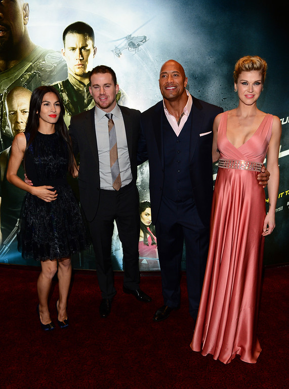 ". From left, Elodie Yung, Channing Tatum, Dwayne Johnson and Adrianne Palicki arrive at the British premiere of ""G.I. Joe: Retaliation\"" at a cinema in Leicester Square in London, Monday, March 18, 2013. (Photo by Jon Furniss/Invision/AP)"