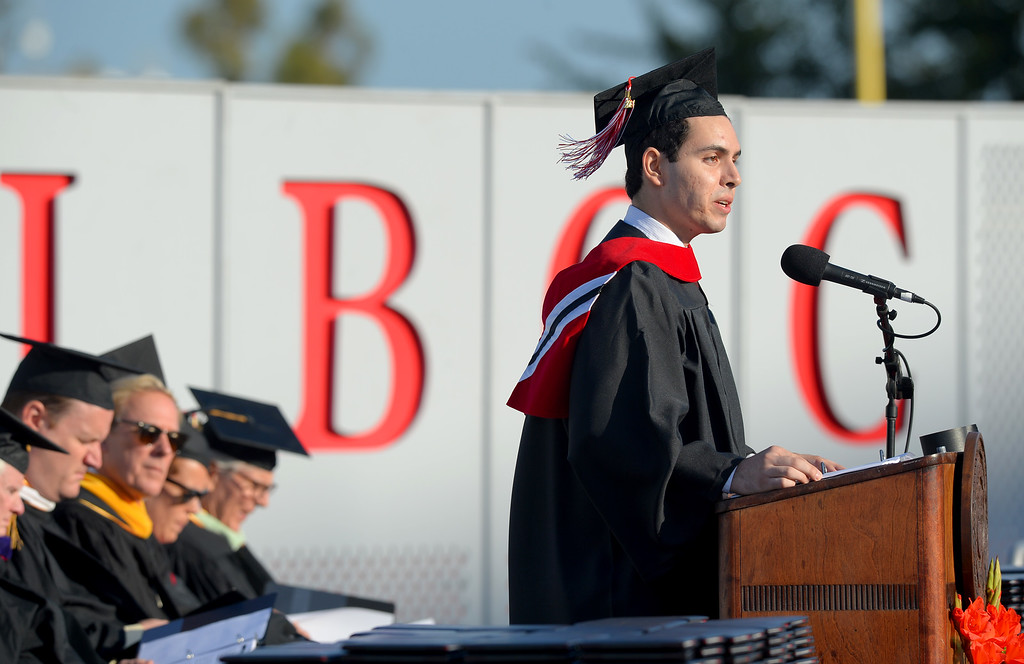 . Long Beach City College\'s class of 2014 receive their certificates and degrees at Veterans Memorial Stadium in Long Beach, CA on Thursday, June 5, 2014. ASB President Marco Mendoza. (Photo by Scott Varley, Daily Breeze)