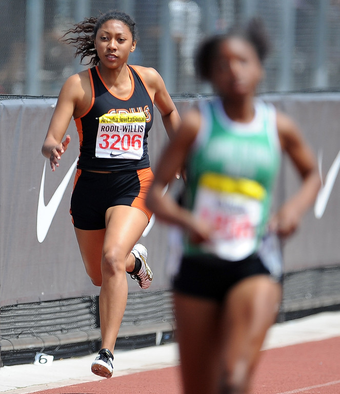 Description of . South Pasadena's Kamia Rodil Willis competes in the 400 meters race in the during the Arcadia Invitational at Arcadia High School on Saturday, April 6, 2013 in Arcadia, Calif.  (Keith Birmingham Pasadena Star-News)