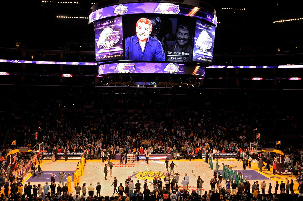 . The Lakers Kobe Bryant said a few words to the crowd and asked for a moment of silence in memory of Jerry Buss, the Laker owner who passed away on Monday. Los Angeles, CA 2/20/2013(John McCoy/Staff Photographer)