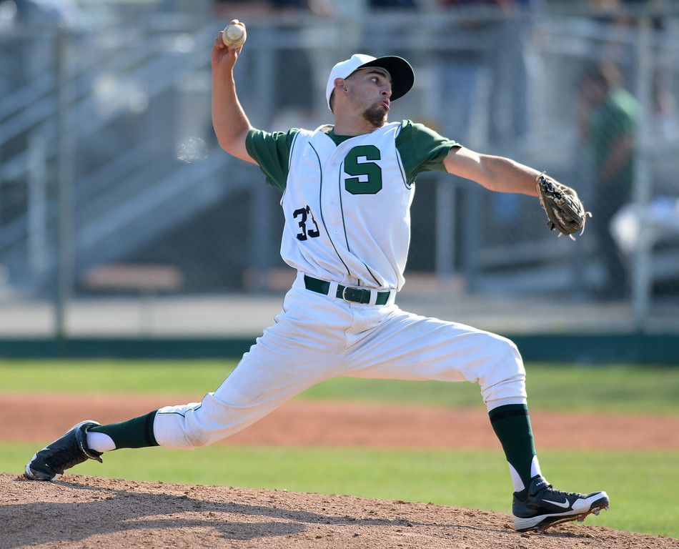 . South\' pitcher Jake Mandel (33) closing out against Estancia in a first-round CIF SS Division IV baseball game Friday in Torrance. South won 7-2. 20130517 Photo by Steve McCrank / Staff Photographer