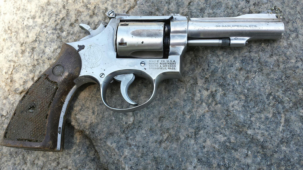 Description of . One of two guns found in the lake at Red Hill Park in Rancho Cucamonga. (Photo Courtesy to the Inland Valley Daily Bulletin)