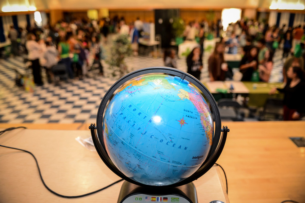 . The Earth is front and center at an Earth Day celebration at Portola Middle school in Tarzana Monday.    Photo by David Crane/Staff Photographer