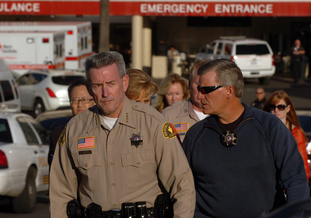 . San Bernardino County Sheriff John McMahon walks out of the ER at Loma Linda University Medical Center to report to the media that one police officer was killed and one injured by Christopher Dorner in the Big Bear area in Loma Linda February 12, 2013. ON13-Dorner-01-TRC (Thomas R. Cordova/Staff Photographer)