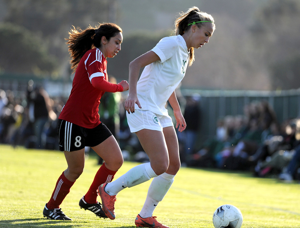 . 02-21-2012--(LANG Staff Photo by Sean Hiller)- South Torrance girls soccer beat Artesia 5-0 in Thursday\'s CIF Southern Section Division IV quarterfinal at South High. Kyla Diekmann (10) over powers Artesia.