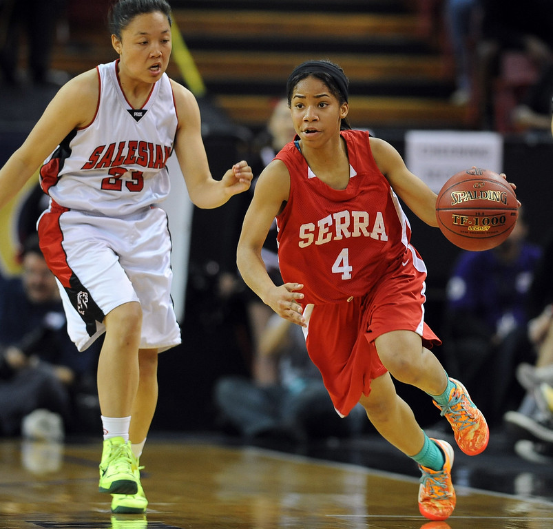 . Serra High School\'s Deandrea Tolerbrings the ball up the court against Salesian High School during the Division IV 2013 CIF State Basketball Championship at the Sleep Train Arena, in Sacramento, Ca March 23, 2013.(Andy Holzman/Los Angeles Daily News)