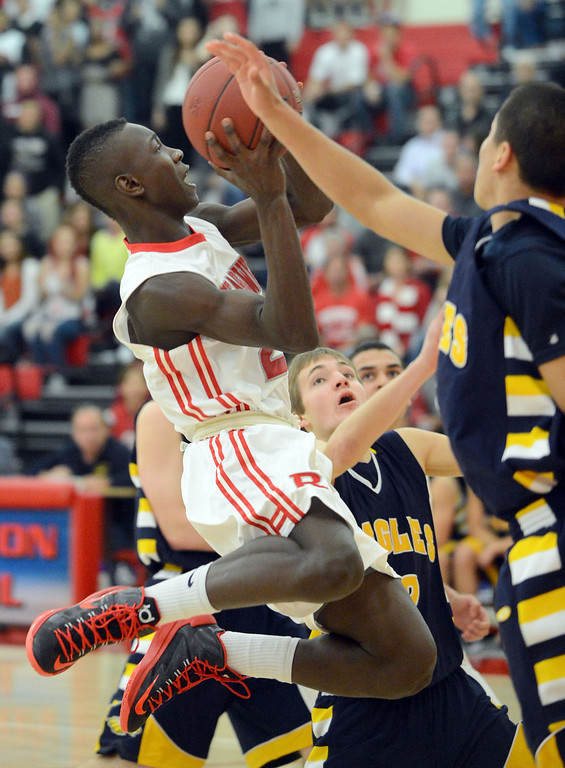 . Redondo Union\'s Leland Green goes up the middle against  Arroyo Grande in a CIF Southern Section Division II-A semifinal boys basketball game Tuesday night in Redondo Beach. 20130226 Photo by Steve McCrank / Staff Photographer