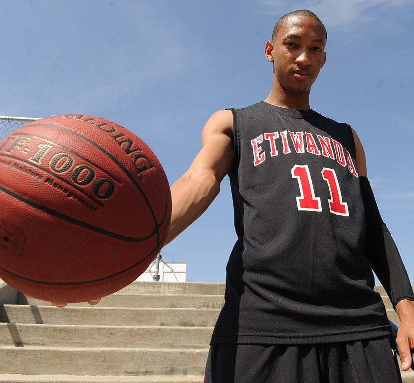Description of . Jordan McLaughlin of Etiwanda High School has been named to the Inland Valley Daily Bulletin's All-Valley Boys Basketball First Team Player of the year. LaFonzo Carter/ Staff Photographer