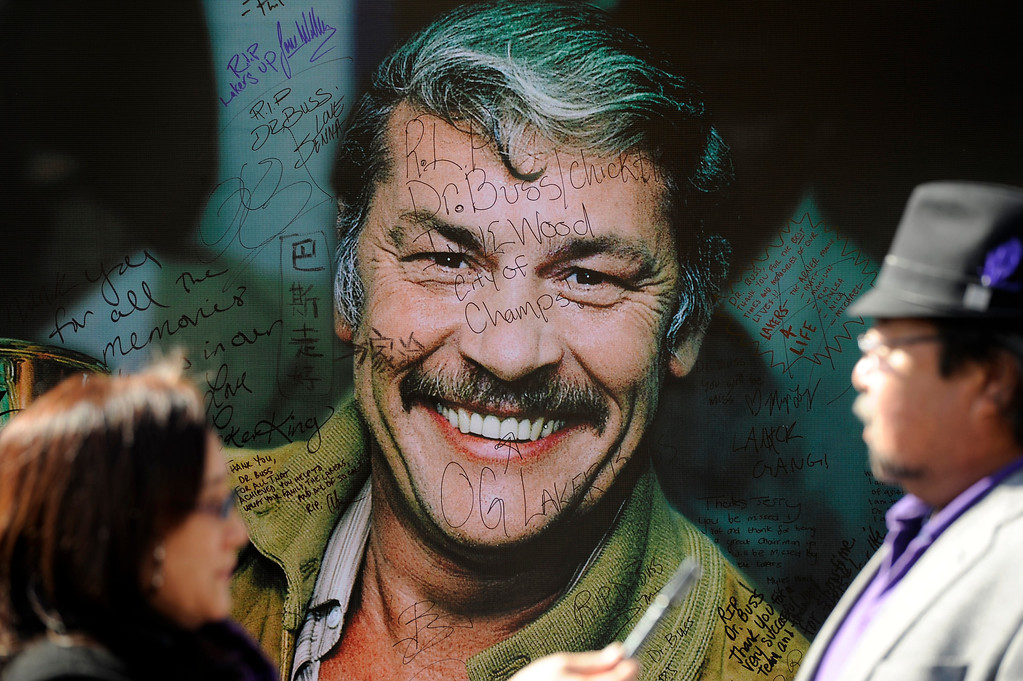 . Signed posters of Jerry Buss outside the Jerry Buss Memorial Service at Nokia Theatre, Thursday, February 21, 2013. (Michael Owen Baker/Staff Photographer)