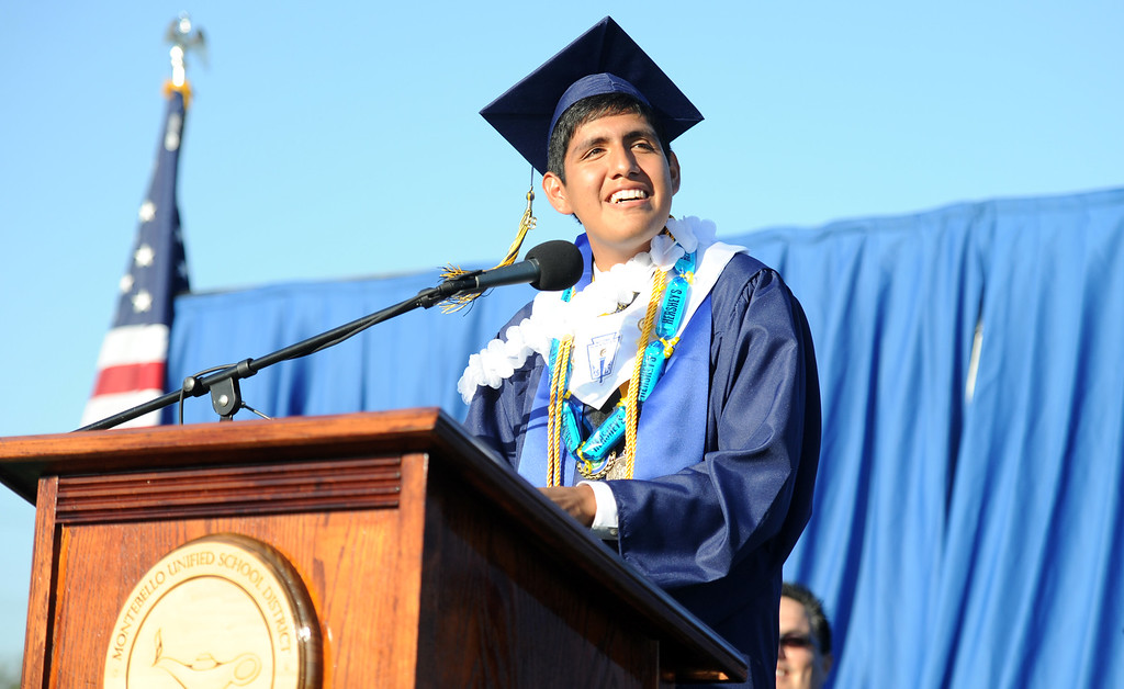 Description of . Valedictorian Luis A. Apolaya Torres during the Montebello High School commencement at Montebello High School on Thursday, June 20, 2013 in Montebello, Calif.  (Keith Birmingham/Pasadena Star-News)