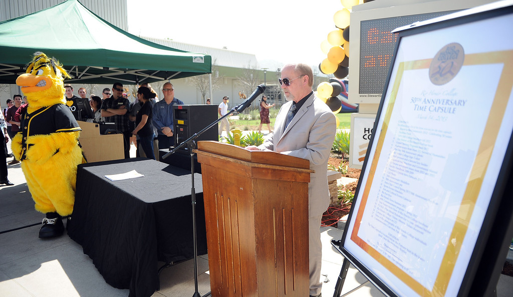 . Dr. Kenn Pierson speaks during a celebration of the colleges 50th anniversary with a time capsule burial, cake and signing of a giant birthday card at Rio Hondo College on Thursday, March 14, 2013 in Whittier, Calif.  (Keith Birmingham Pasadena Star-News)