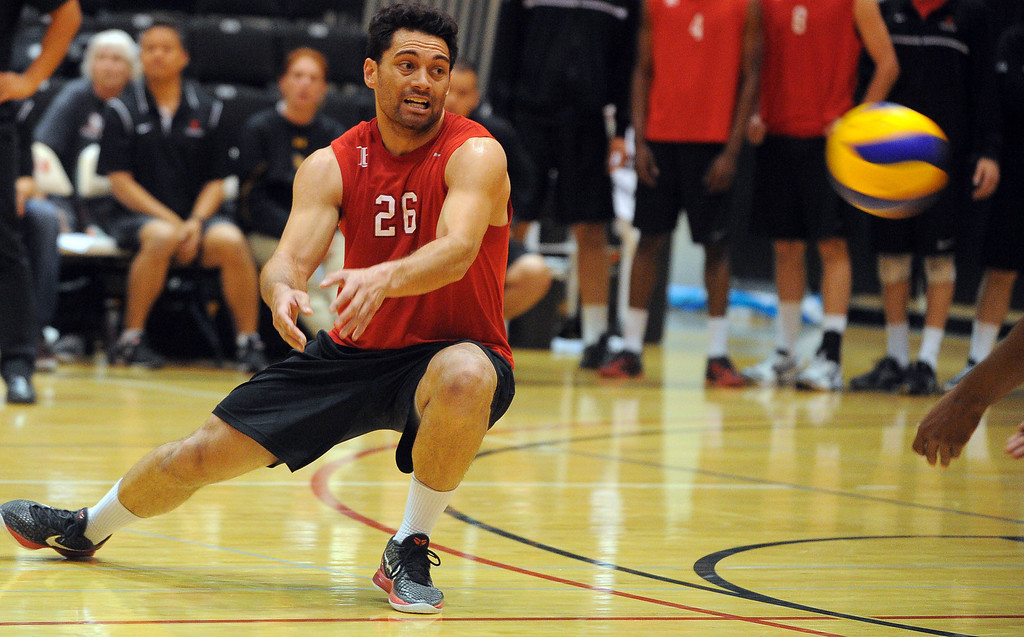. LONG BEACH - 04/16/2013  (Photo: Scott Varley, Los Angeles Newspaper Group)  Long Beach City College defeated Orange Coast College to advance to the semifinal in the state mens volleyball playoffs. A serve gets past LBCC\'s Greg Utupo.