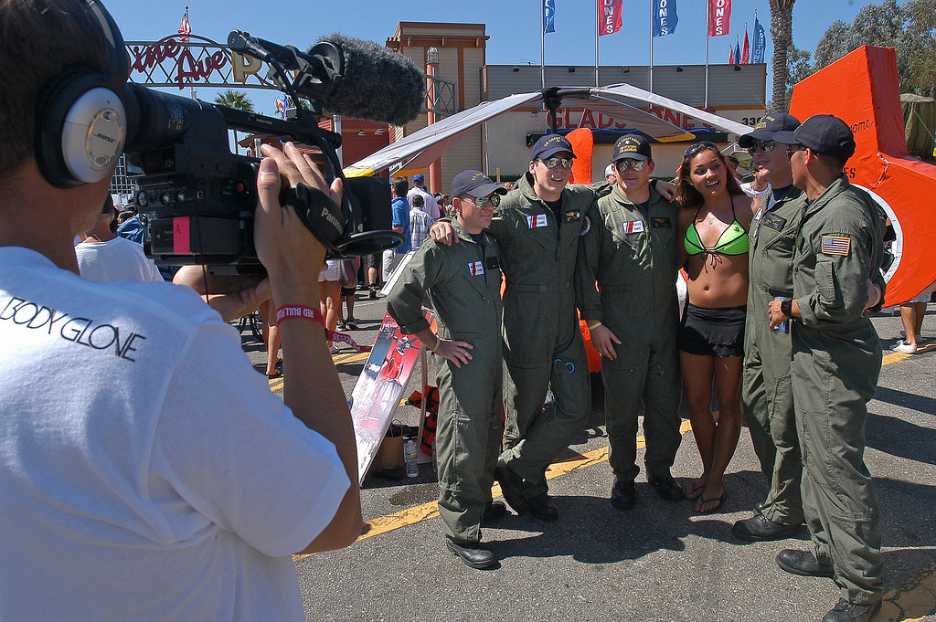 . 08/21/10:  Members of the U.S. Coast Guard based in Los Angeles, are interviewed by a television crew in the hanger at the Red Bull Flugtag Long Beach at Rainbow Harbor on Saturday, August 21, 2010..Photo by Diandra Jay/Press-Telegram