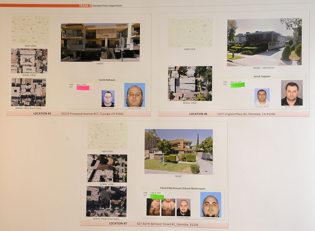 . Photos of suspects in custody and still at large on display during a press conference at Glendale police station about the assisting agencies, executed search warrants in nine separate locations for the purpose of arresting known suspects and seizing evidence regarding identity theft and credit card manufacturing. Glendale CA, Aug 13,2013. Photo by Gene Blevins/LA Daily News