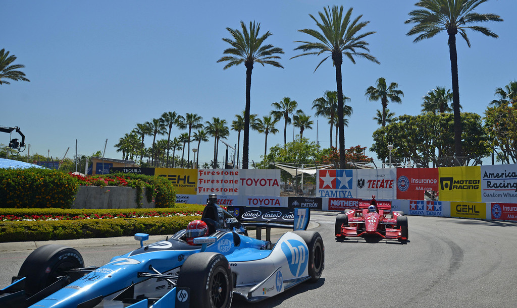. 04-19-2013-(LANG Staff Photo by Sean Hiller)- Mike Conway in the practice for the Indycar at the Toyota Grand Prix Friday in Long Beach.