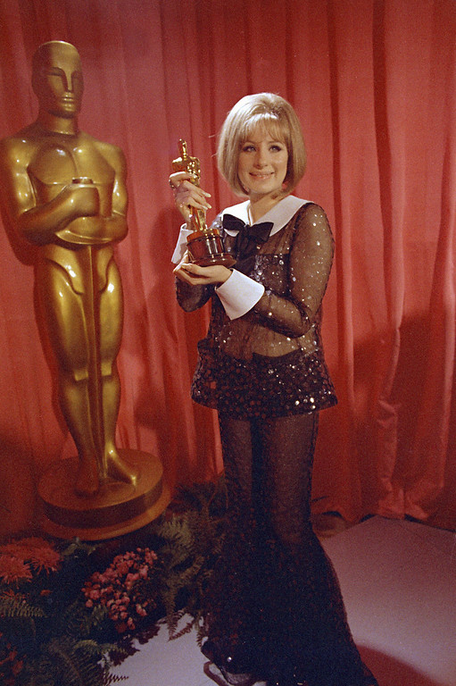 ". Barbra Streisand wins an Oscar for her performance in ""Funny Girl\"" April 14, 1969 in Hollywood, Calif. (AP Photo/George Birch)"