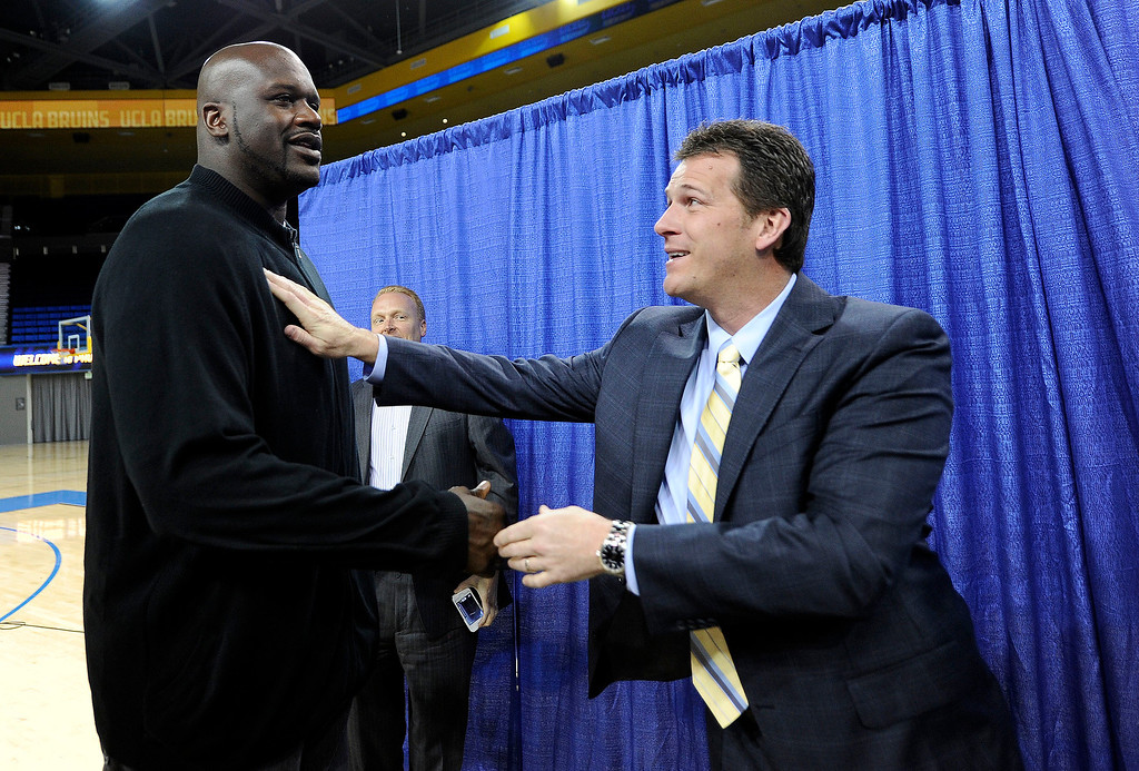. Shaquille O\'Neal says hello to UCLA\'s new men\'s basketball coach Steve Alford during during a press conference at Pauley Pavillion on the UCLA campus Tuesday, April 2, 2013. (Hans Gutknecht/Staff Photographer)