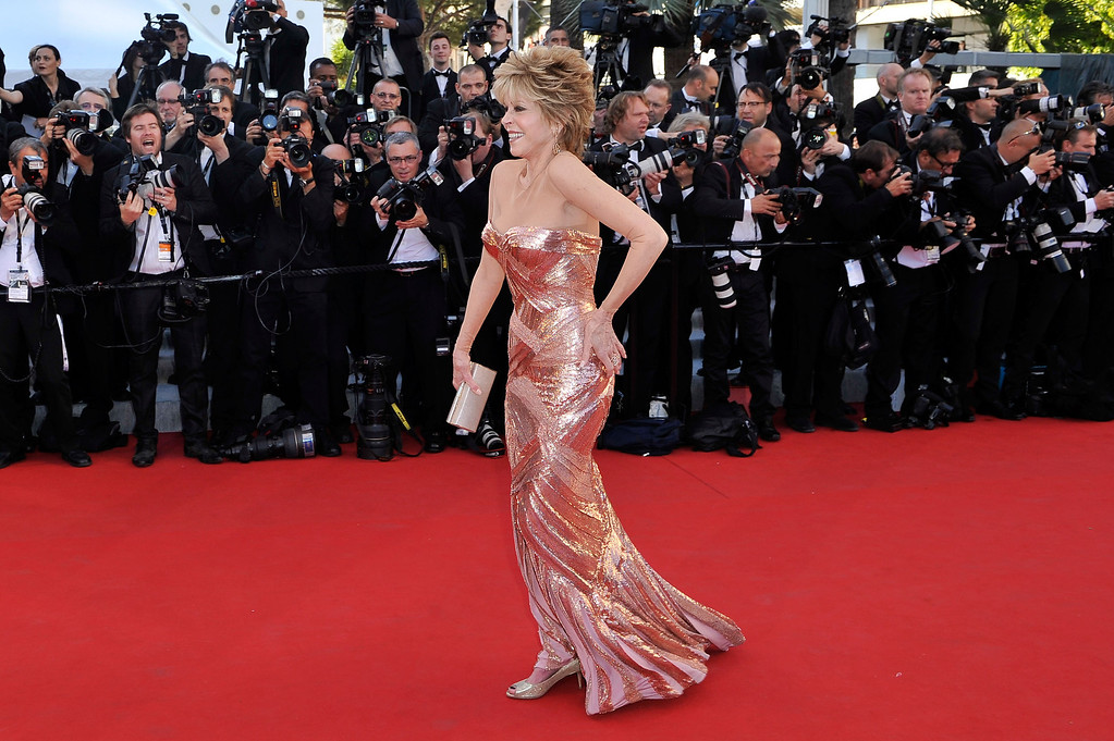 ". CANNES, FRANCE - MAY 16:  Actress Jane Fonda attends opening ceremony and ""Moonrise Kingdom\"" premiere during the 65th Annual Cannes Film Festival at Palais des Festivals on May 16, 2012 in Cannes, France.  (Photo by Gareth Cattermole/Getty Images)"