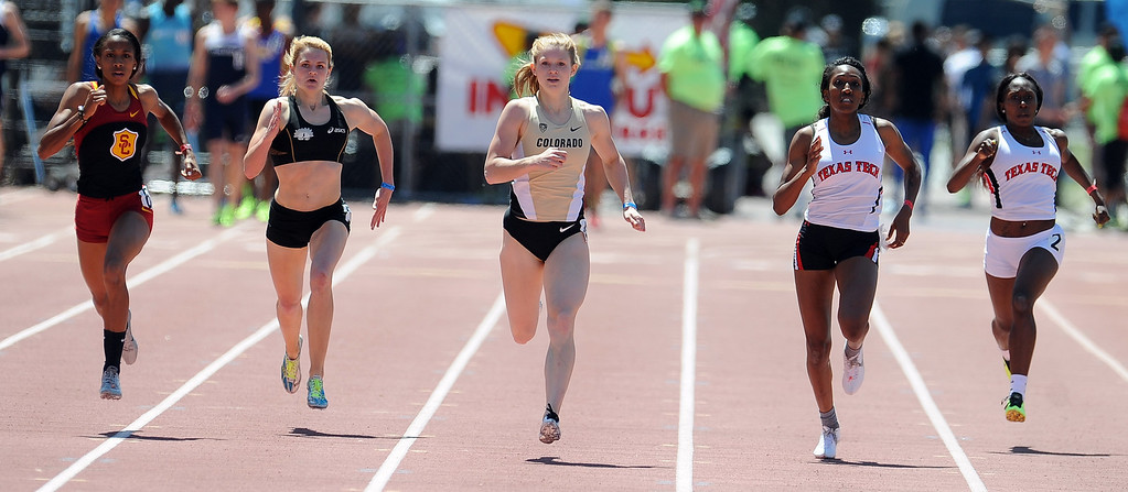 Description of . Eileen Gehring of Colorado wins the 400 meter dash Olympic Development Elite during the Mt. SAC Relays in Hilmer Lodge Stadium on the campus of Mt. San Antonio College on Saturday, April 20, 2012 in Walnut, Calif.    (Keith Birmingham/Pasadena Star-News)