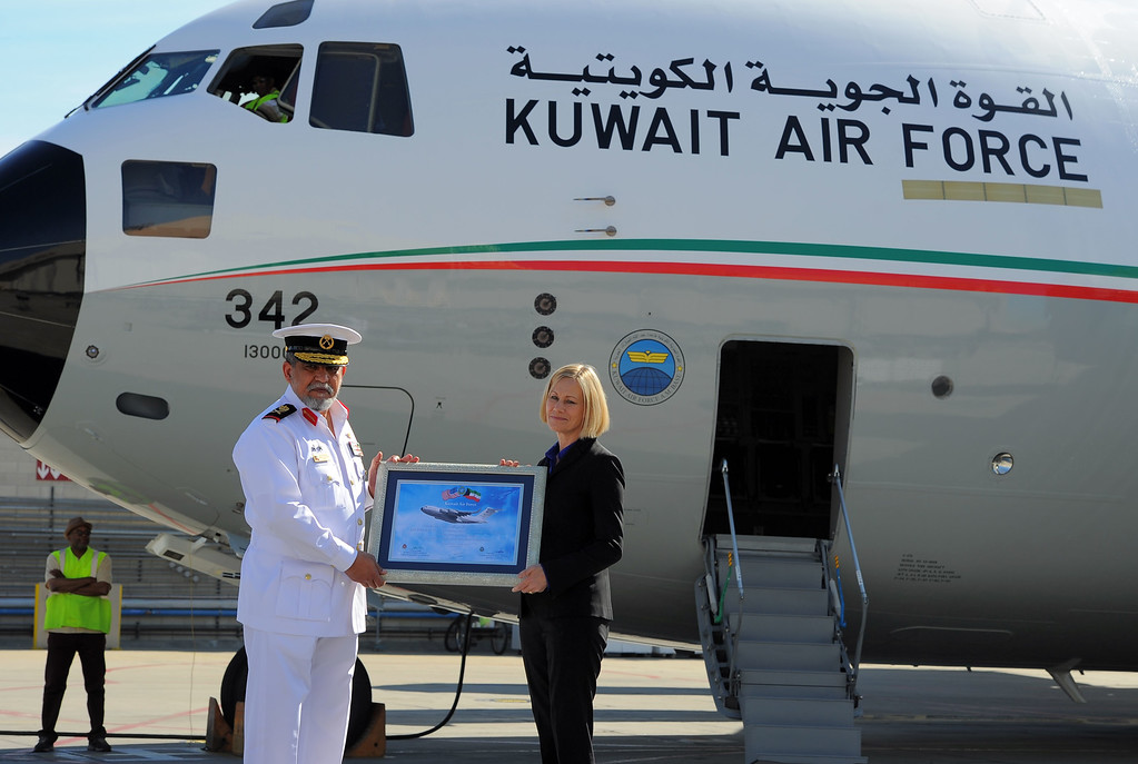 . In a morning ceremony, Boeing officials delivered Kuwait\'s first C-17 Globemaster aircraft in Long Beach, CA on Thursday, February 13, 2014. Maj. Gen. Marzouq Al Bader and Boeing V.P. Nan Bouchard. This is the first of two C-17 airlifters that will be delivered to the Kuwait Air Force.  (Photo by Scott Varley, Daily Breeze)