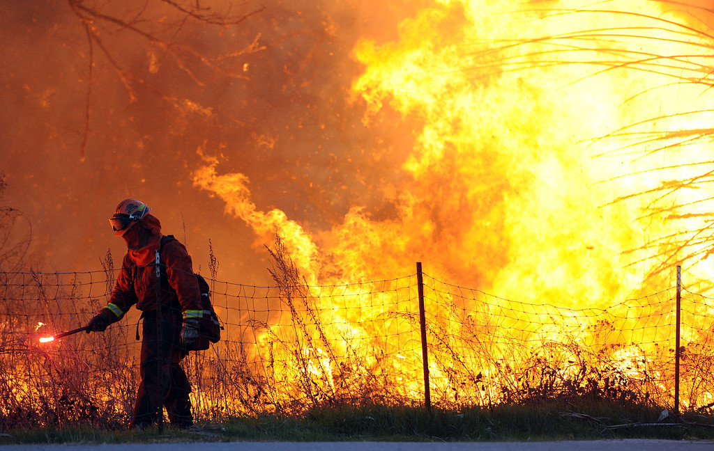 . A firefighter lights a backfire on Rio Road next to the Louis Robidoux Nature Center in the Jurupa Valley on Feb. 28, 2013. As of 7 p.m. approximately 50 acres have burned. (Will Lester/Inland Valley Daily Bulletin)