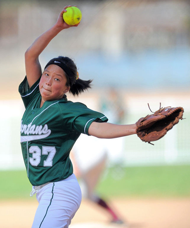 . TORRANCE - 04/03/2013  (Photo: Scott Varley, Los Angeles Newspaper Group)  South vs Torrance softball in a Pioneer League matchup. South starting pitcher Cindy Chan.