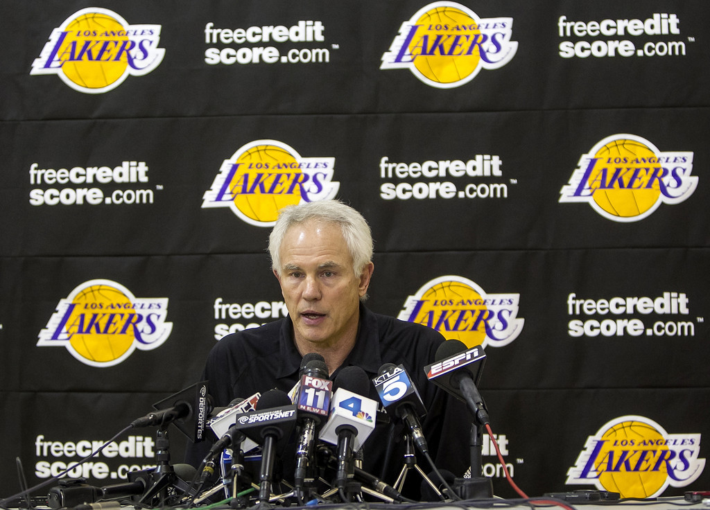 . Los Angeles Lakers general manager Mitch Kupchak talks about the NBA basketball team\'s firing of coach Mike Brown, during a news conference in El Segundo, Calif., Friday, Nov. 9, 2012. Assistant coach Bernie Bickerstaff will coach the Lakers against the Golden State Warriors later Friday while the club\'s top brass searches for Brown\'s replacement. (AP Photo/Damian Dovarganes)