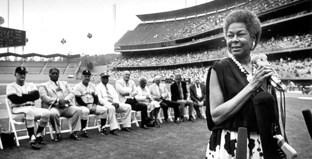 Description of . 1987: Rachel Robinson, the widow of major-league baseball's first black player, Jackie Robinson, addresses the crowd at Dodger Stadium.  Daily News file photo