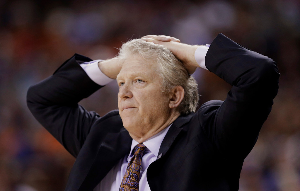 . Northwestern State coach Mike McConathy watches during the second half of a second-round game against Florida in the NCAA men\'s college basketball tournament Friday, March 22, 2013, in Austin, Texas. Florida beat Northwestern State 79-47. (AP Photo/David J. Phillip)