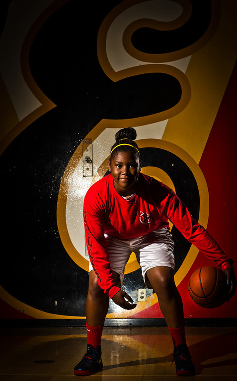 Description of . Amy Okonkwo of Etiwanda High School has been named to the Inland Valley Daily Bulletin's All-Valley Girl's Basketball First Team. Okonkwo is also the player of the year. Thomas Cordova/Staff photographer