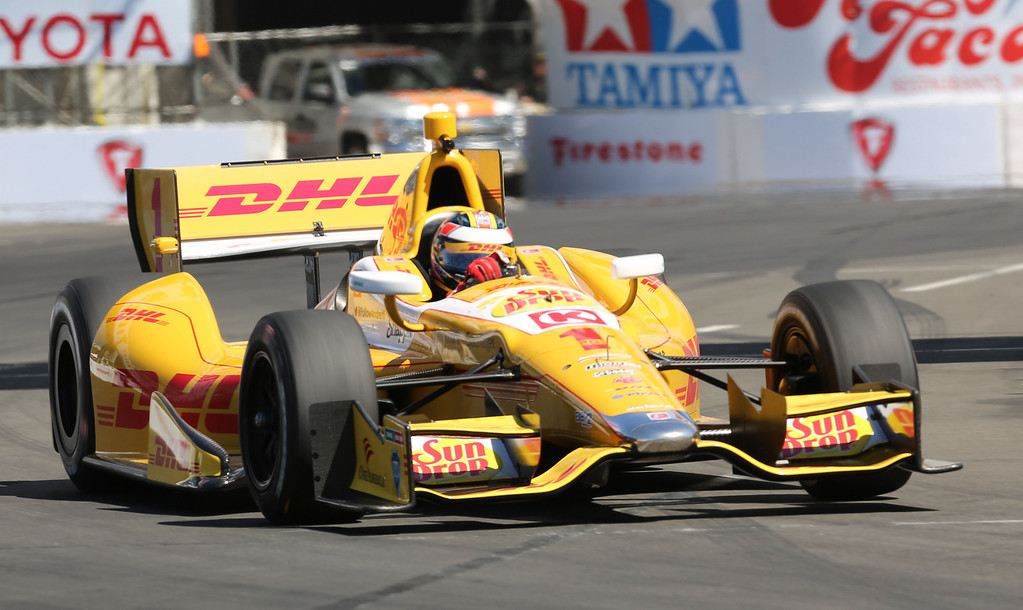 . Ryan Hunter-Reay at Friday morning practice session of the Izod Indycar Series at the Toyota Grand Prix of Long Beach April 19, 2013. Chuck Bennett/Staff Photographer