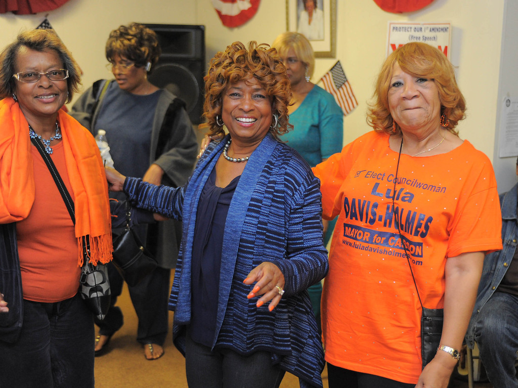 . an Hiller)- Carson Councilwoman Lula Davis-Holmes enjoys the atmosphere at her election night campaign headquarters as she and Mayor Jim Dear were in a tight race for mayor late Tuesday night in Carson.