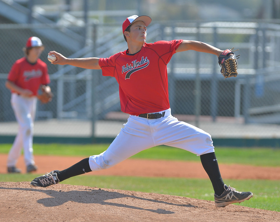 . 0710_SPT_TDB-L-PV-SOUTH-- 20130709 - Torrance, CA --Daily Breeze Staff Photo: Robert Casillas / LANG --- South Torrance vs Palos Verdes in South Bay Summer Baseball League game at South. Alec Lowi delivers pitch for PV.