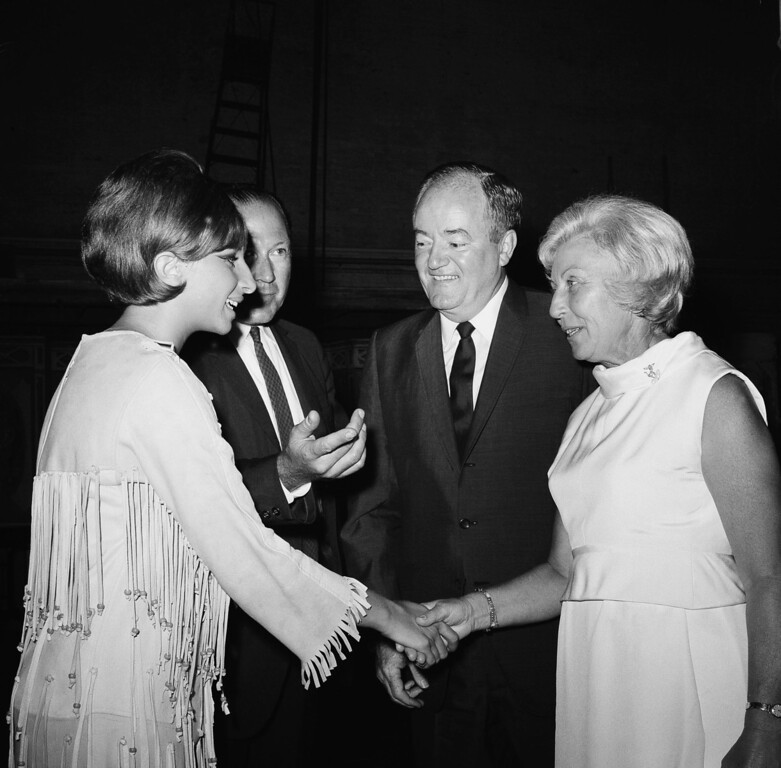 ". Vice President  Hubert Humphrey, right,  and his wife Muriel are introduced to Barbara Streisand, star of the Broadway musical, ""Funny Girl\"",  during visit backstage Aug. 16, 1965 at the Winter Garden Theater in New York.  (AP Photo/John Lent"