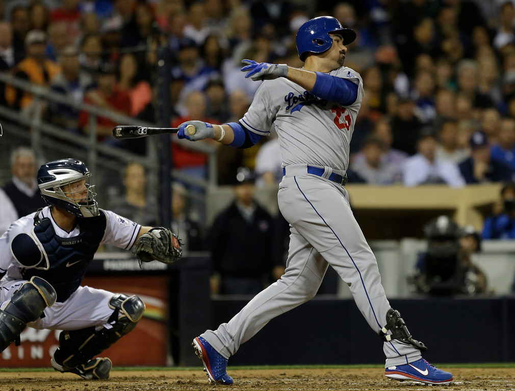 . Los Angeles Dodgers\' Adrian Gonzalez batting against the San Diego Padres during  a baseball game in San Diego, Wednesday, April 10, 2013. (AP Photo/Lenny Ignelzi)
