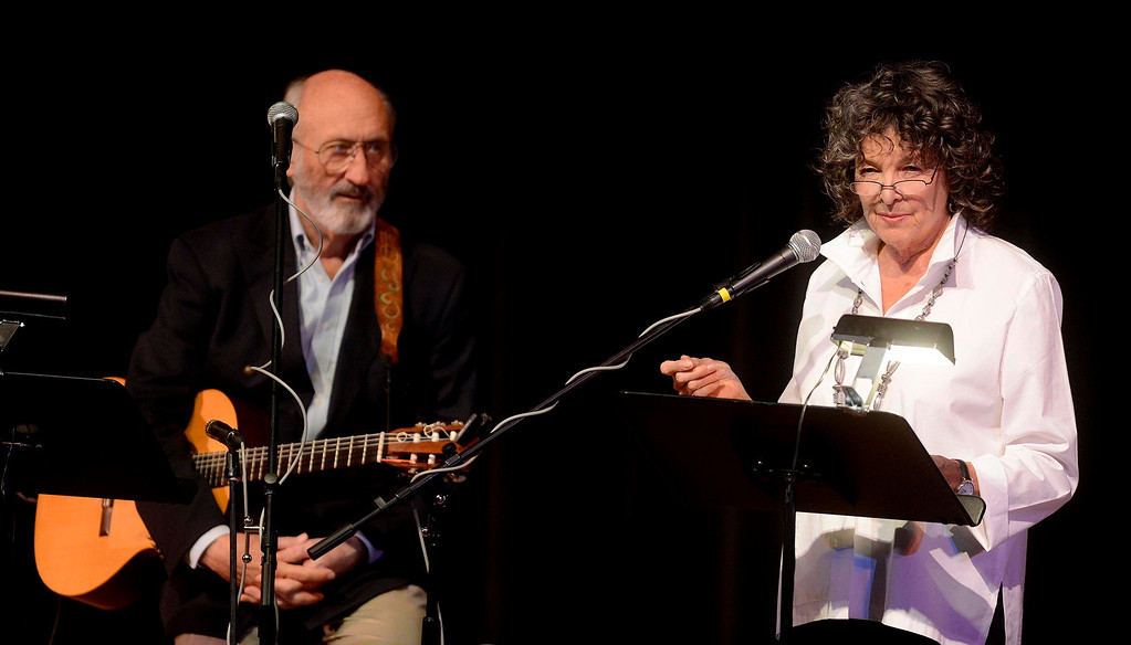 Description of . Noel Paul Stookey of Peter Paul & Mary fame performs with wife Rev. Betty Stookey during the One Light, Many Candles program at California State University San Bernardino March 10, 2013.  GABRIEL LUIS ACOSTA/STAFF PHOTOGRAPHER.